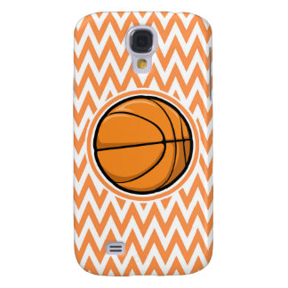 Basketball on Orange and White Chevron Samsung Galaxy S4 Case
