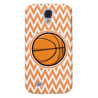 Basketball on Orange and White Chevron Samsung Galaxy S4 Case