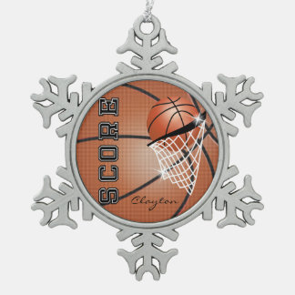 Basketball | Orange Brown | Personalize Snowflake Pewter Christmas Ornament