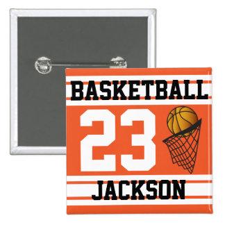 Basketball Orange & White Stripes | DIY Text 15 Cm Square Badge