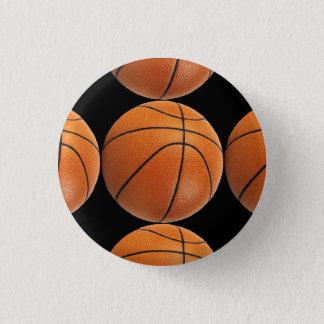 Basketball Pattern on Black 3 Cm Round Badge