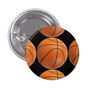 Basketball Pattern on Black 3 Cm Round Badge