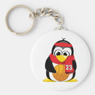 Basketball Penguin Scarf Basic Round Button Key Ring
