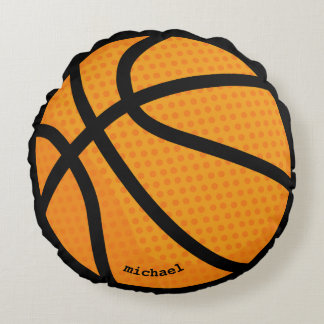 Basketball personalised name round cushion