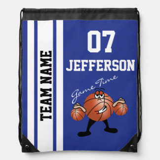 Basketball Personalize Team Dark Blue Drawstring Backpacks