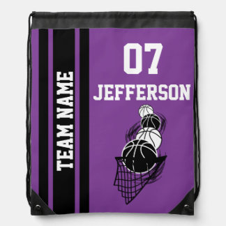 Basketball Personalize Team | Purple Drawstring Bag