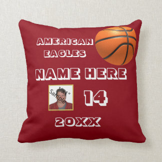 Basketball Picture Pillow with Red