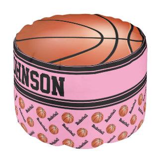 Basketball Pink Sport Pattern Pouf
