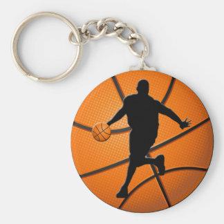 BASKETBALL PLAYER BASIC ROUND BUTTON KEY RING