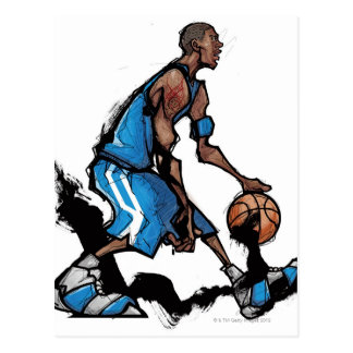 Basketball player dribbling ball postcard