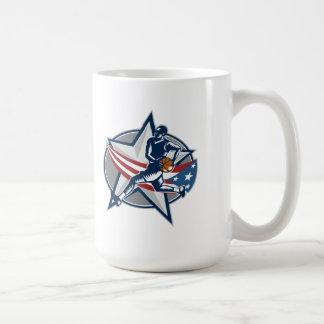 Basketball Player Fast Break Lay-Up Woodcut Coffee Mugs