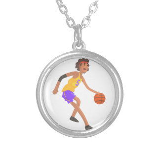 Basketball Player In Red Headband Action Sticker Silver Plated Necklace