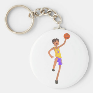 Basketball Player Jumping Action Sticker Key Ring