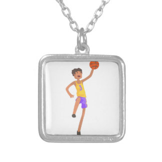 Basketball Player Jumping Action Sticker Silver Plated Necklace
