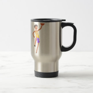 Basketball Player Jumping Action Sticker Travel Mug
