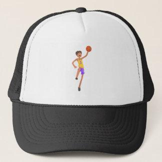 Basketball Player Jumping Action Sticker Trucker Hat