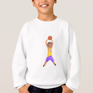 Basketball Player Jumping And Throwing Action Stic Sweatshirt
