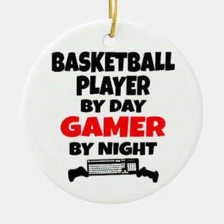Basketball Player Loves Playing Video Games Ceramic Ornament