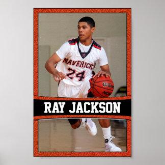 Basketball Player Name & Photo Sports Poster