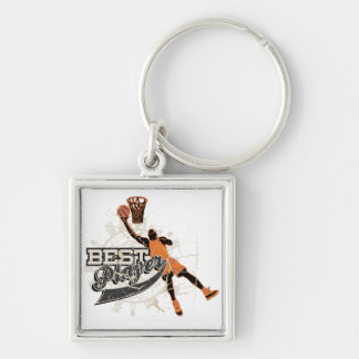 Basketball Player Orange and Gray Silver-Colored Square Key Ring