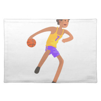 Basketball Player Passing The Ball Action Sticker Placemat