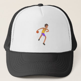 Basketball Player Passing The Ball Action Sticker Trucker Hat