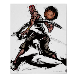 Basketball player playing with basketball poster