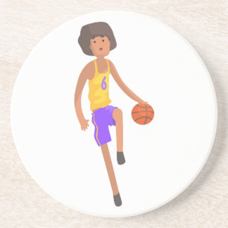 Basketball Player Running With Ball Action Sticker Coaster