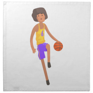 Basketball Player Running With Ball Action Sticker Napkin