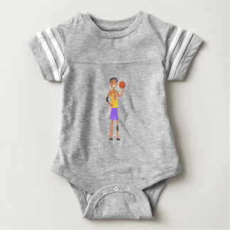 Basketball Player Turning Ball On A Finger Action Baby Bodysuit