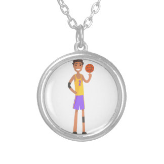 Basketball Player Turning Ball On A Finger Action Silver Plated Necklace