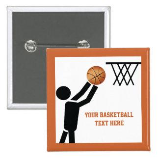 Basketball player with ball custom 15 cm square badge