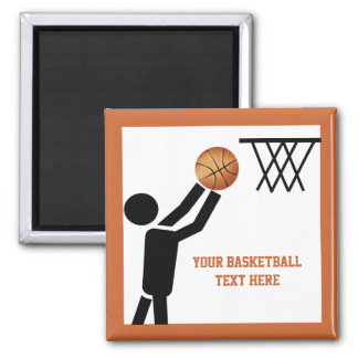 Basketball player with ball custom square magnet