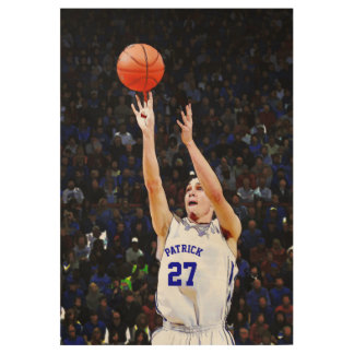 Basketball Player With Your Blue Name And Number Wood Poster