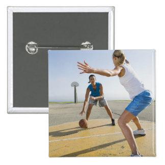 Basketball players 6 15 cm square badge