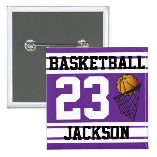 Basketball Purple & White Stripes | DIY Text 15 Cm Square Badge