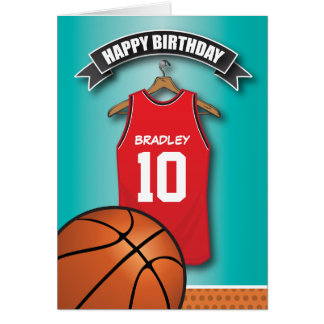 Basketball birthday cards greeting cards zazzle basketball red jersey sports custom birthday card bookmarktalkfo Image collections