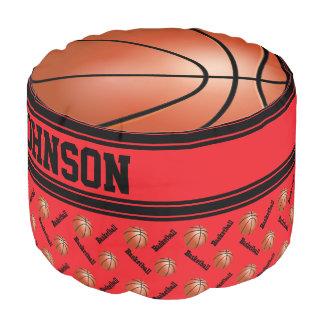 Basketball Red Sport Pattern Pouf