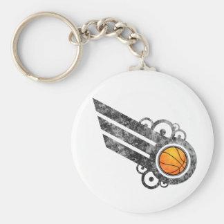 Basketball Retro Stripe Black Keychain