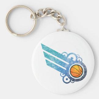 Basketball Retro Stripe Blue Keychain