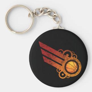 Basketball Retro Stripe Red Keychain