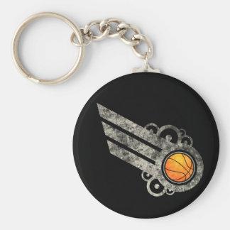 Basketball Retro Stripe Tan Keychain