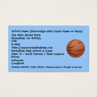 Basketball, School Name (Personalize with Coach... Business Card