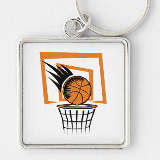 basketball score graphic Silver-Colored square key ring