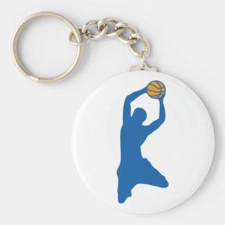 basketball silhouette basic round button key ring