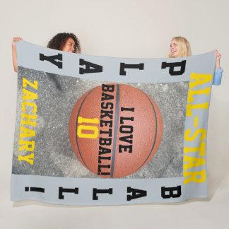 Basketball Silver Blue Name Sports Fleece Blankets