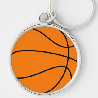Basketball Silver-Colored Round Key Ring