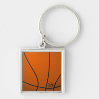 Basketball Silver-Colored Square Key Ring