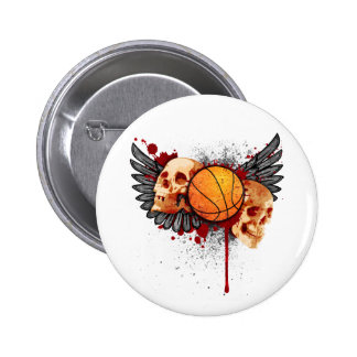 Basketball Skulls with Wings Button