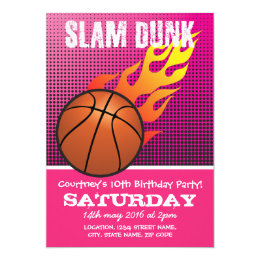 Kids basketball birthday invitations announcements zazzle basketball slam dunk pink kids sports birthday card bookmarktalkfo Image collections
